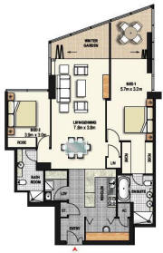 Two Bedroom Apartment Plan - Meriton World Tower Apartments Hotel