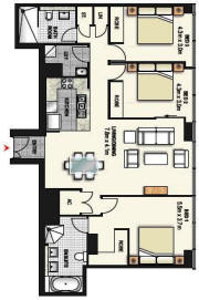 Three Bedroom Apartment Plan - Meriton World Tower Apartments Hotel